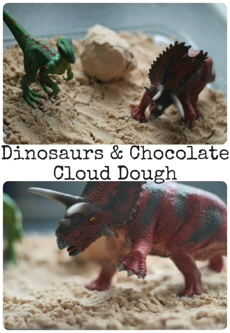 sensory play with dinosaurs and chocolate moon dough