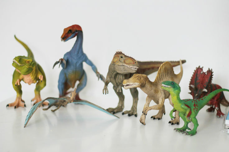 Lots of toy dinosaurs from Schleich