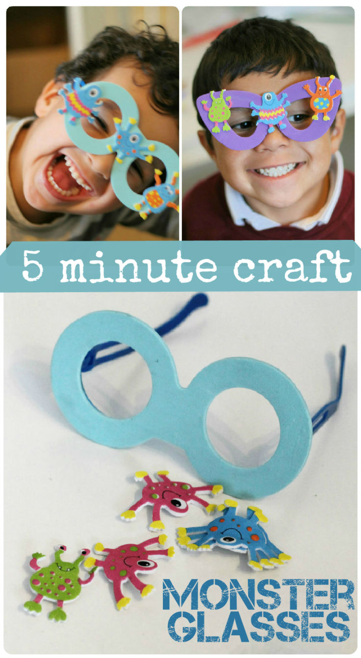 5 minute kids crafts monster glasses in the playroom. Black Bedroom Furniture Sets. Home Design Ideas