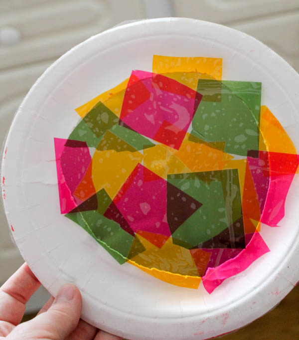 sticky back plastic cellophane paper plate craft