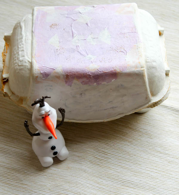 Frozen egg box snow world with snowflake