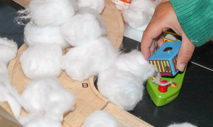 cotton wool balls for snow for small world
