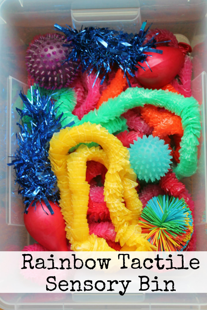 Tactile Sensory Toys Autism : Sensory play rainbow tactile bin in the playroom