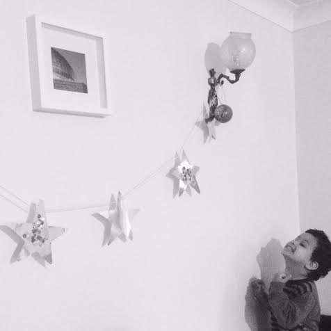 star garland decoration made by toddler