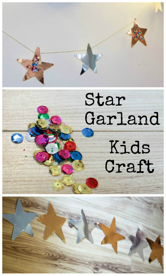 Easy star garland craft for kids good for parties or Christmas