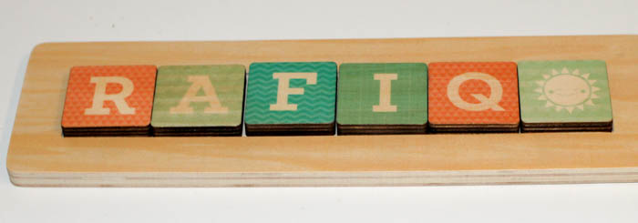 Rafiq wooden personalised name puzzle from tinyme