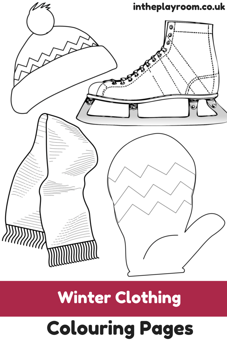 photograph regarding Printable Winter Colouring Pages titled Winter season Apparel Colouring Webpages - Inside of The Playroom