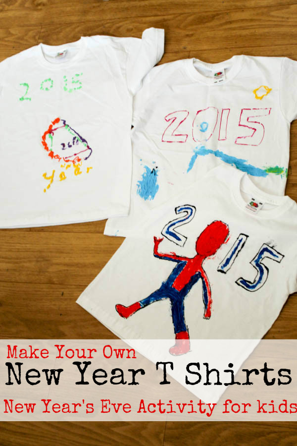 Make your own new year t-shirt. A fun and creative way for children to celebrate the new year