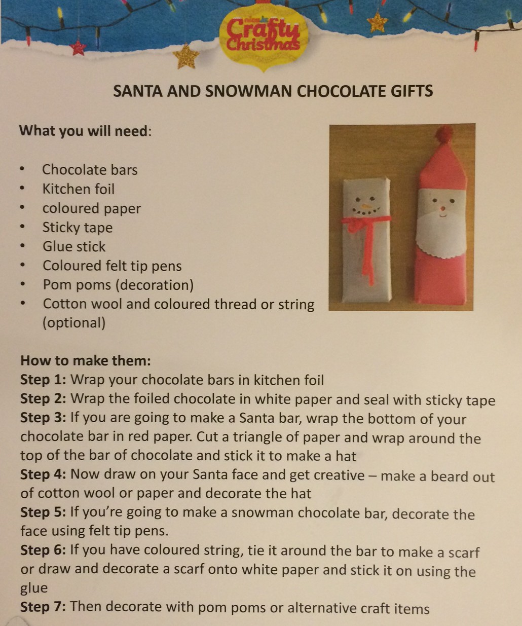snowman and santa chocolate gifts - great idea!