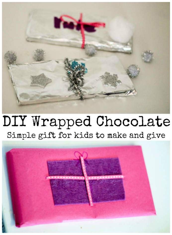 DIY wrapped chocolate gifts - these can be personalised however you like. Such a smart idea for frugal but thoughtful gifts, kids could give to friends or neighbours