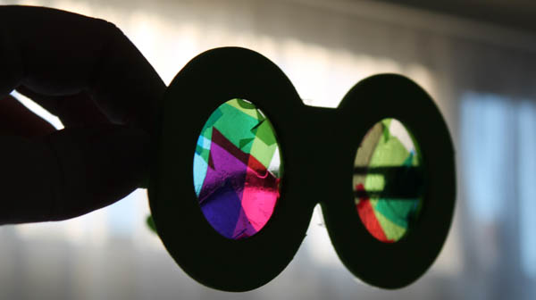 multicoloured rainbow vision glasses