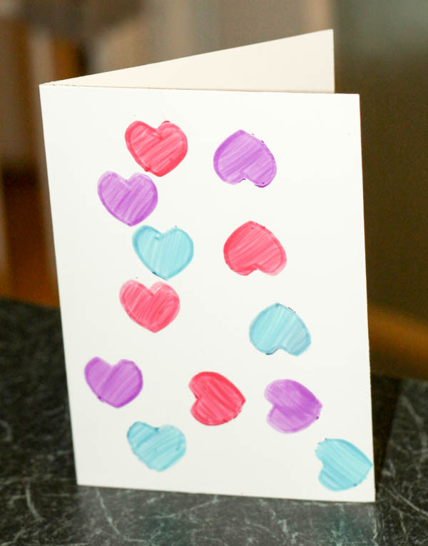 coloured heart stencil Valentines card