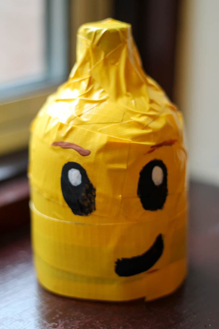 Soda bottle lego head easy kids craft