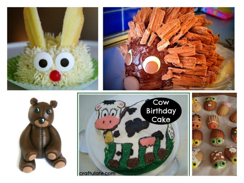 animal cakes for kids including bunny cake, hedgehog cake, bug cakes, cow cake and teddy bear cake