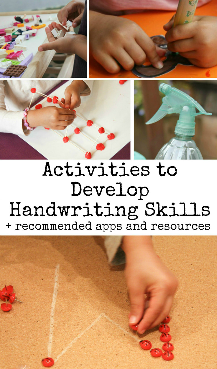 fun ways to work on handwriting skills in the playroom activities to develop handwriting skills plus recommended apps and resources