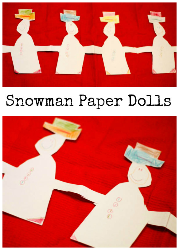 how to make snowman paper dolls. this is an easy winter craft for young kids to do independently