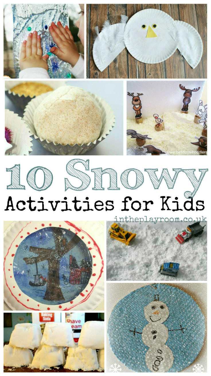 10 snow activities for kids, with play recipes. ice activities and fun winter and snowy crafts