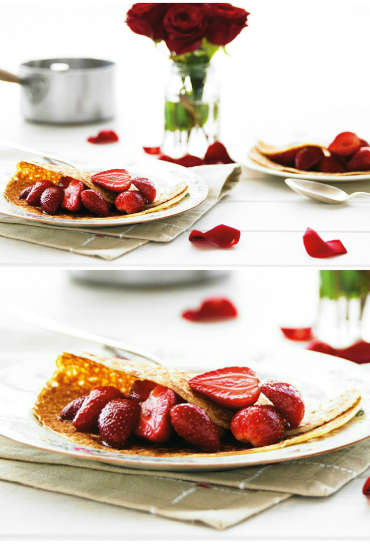 Simple strawberry pancakes for a Valentines day breakfast