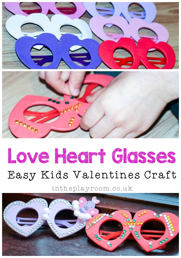 love heart glasses craft for kids to make at valentines day.