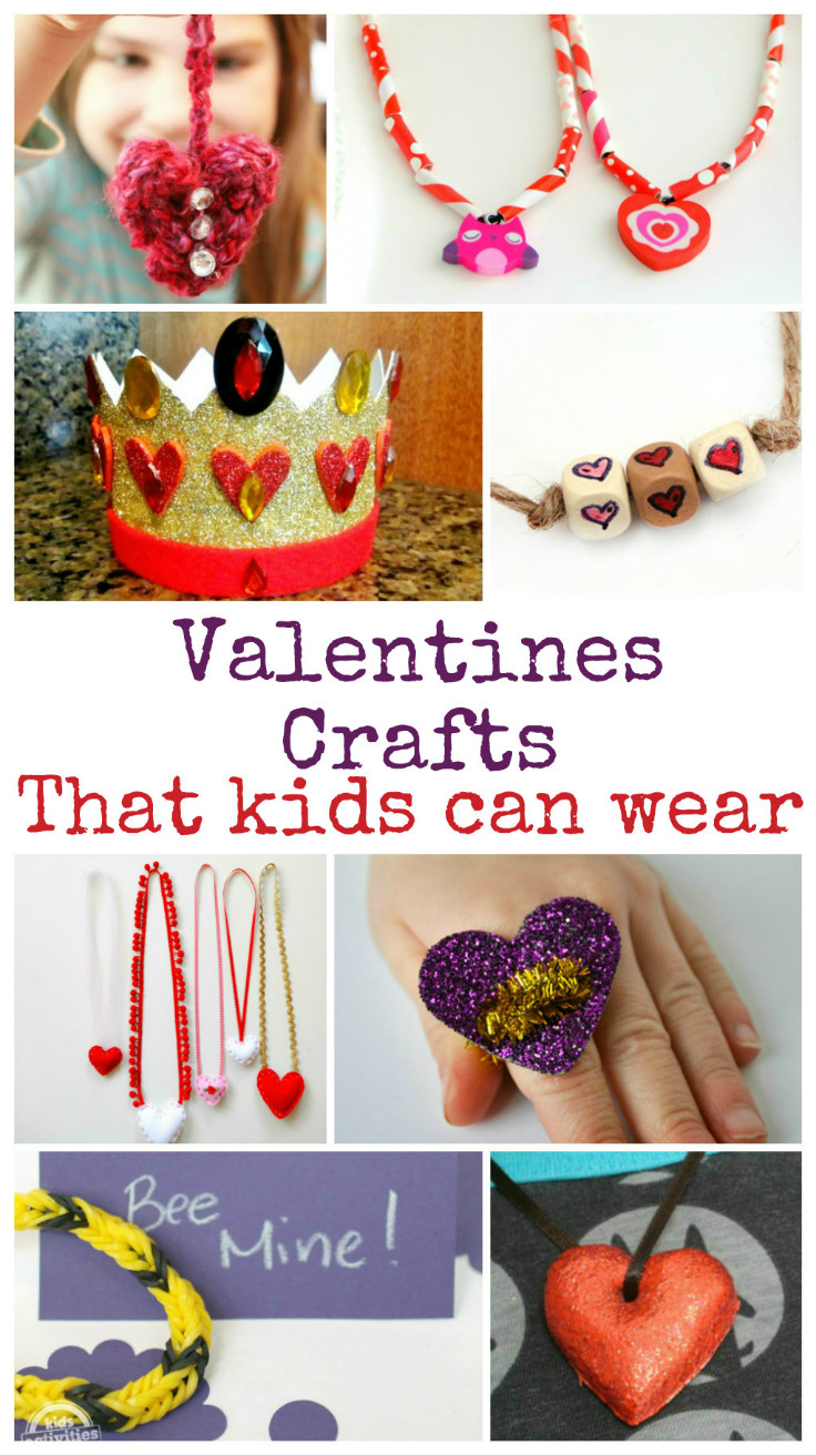 12 Wearable valentines crafts for kids to make - necklaces, bracelets, hats and rings!