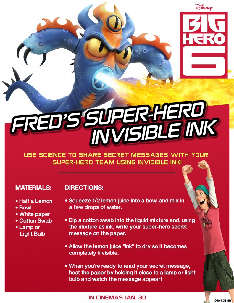 Big Hero 6 Science Experiments Freds Invisible Ink