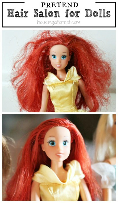 How-to-Fix-Doll-Hair-Set-up-a-barbie-salon.-My-girls-love-this-simple-trick-and-it-totally-works