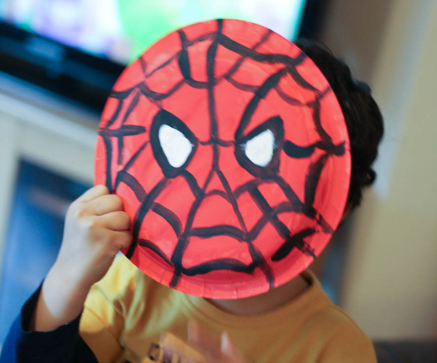 Paper plate Spider-Man face as a mask & Paper Plate Spider-Man - In The Playroom