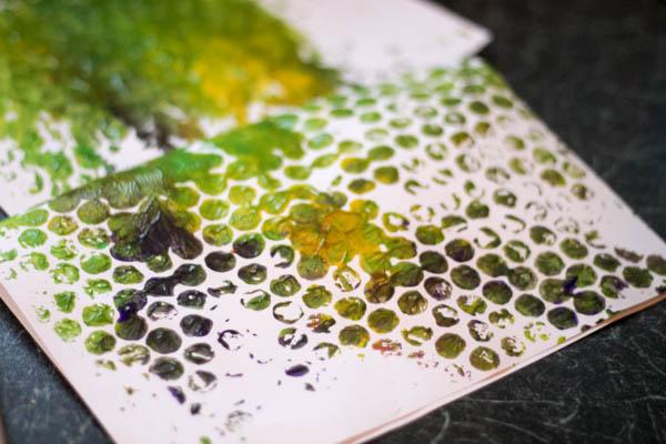 bubble wrap print painting