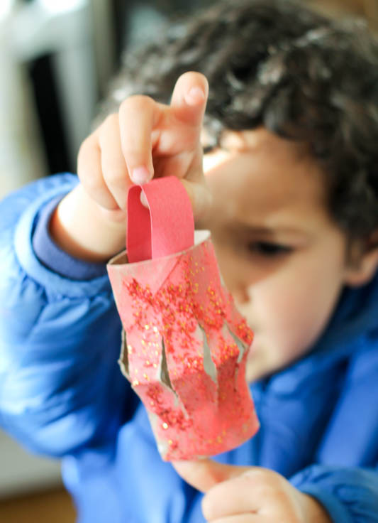 toddler made Chinese New Year Lantern craft