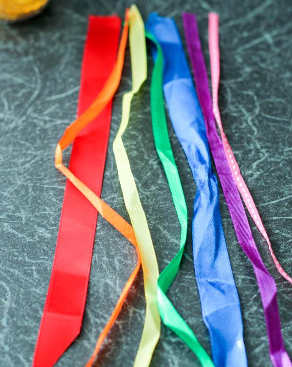 rainbow ribbons for sensory bottle