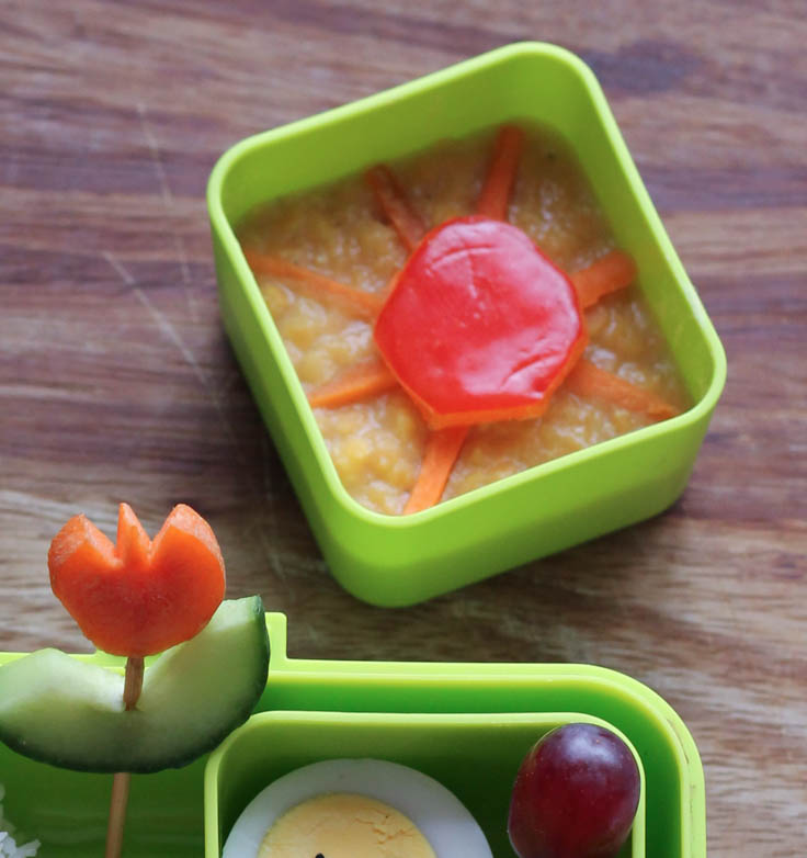 Bento lunch with daal with a sunshine for spring time