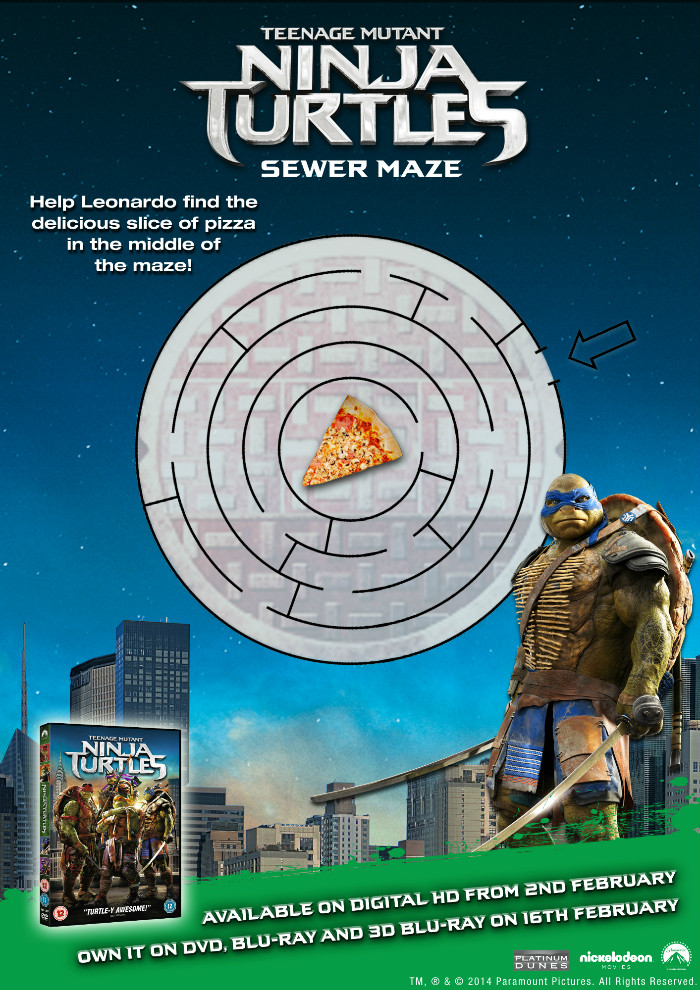 Teenage mutant ninja turtles printable activity sheet TMNT sewer maze