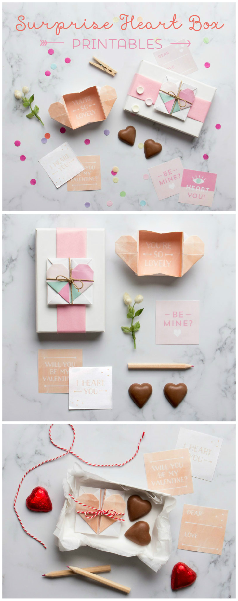 Surprise heart box printables, to make an origami gift box. These are adorable