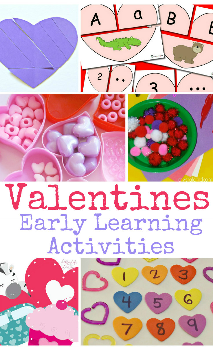 Valentines learning activities for toddlers and preschoolers focusing on early maths skills like sorting and matching