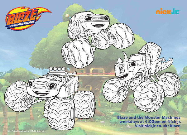 Blaze And The Monster Machines Colouring Pages And Twitter Party on Fun Printable Activities 2