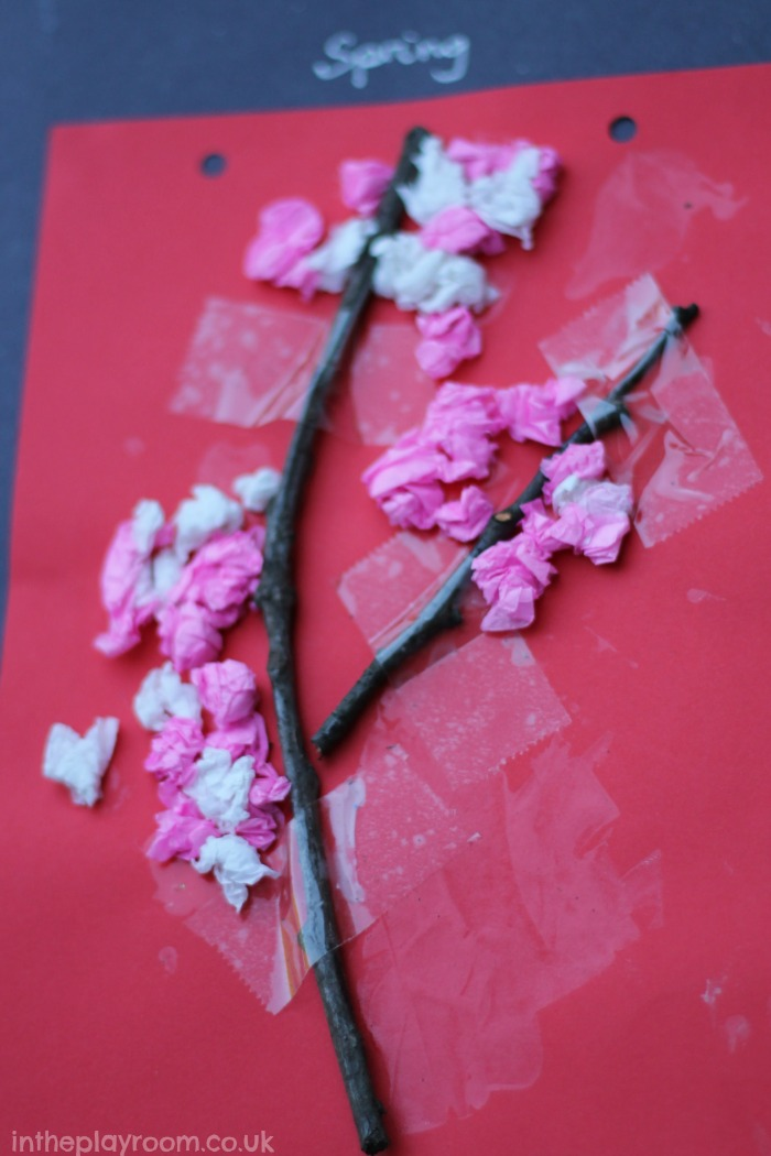Scrunched tissue paper blossom tree spring craft for toddlers and preschoolers
