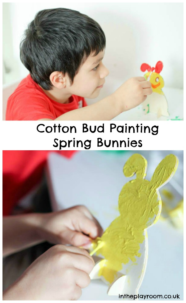 cotton bud painting on a vertical surface for fine motor practise