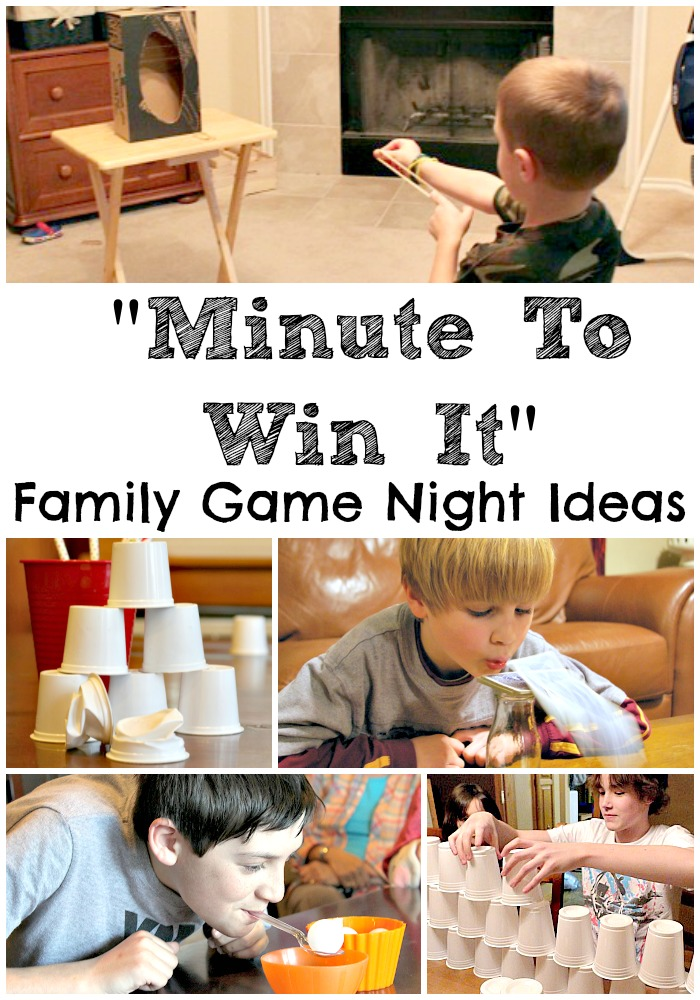 Minute to Win It Family game night ideas