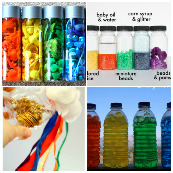 rainbow sensory bottles and discovery bottles