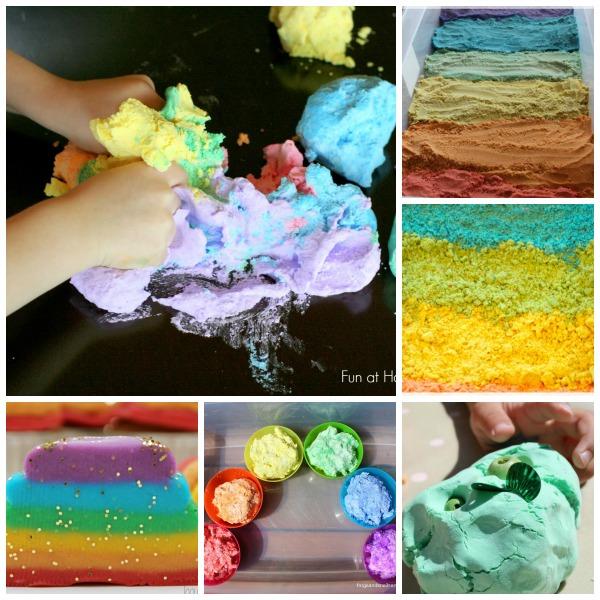 rainbow sensory doughs