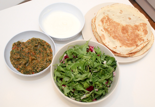 quesadillas with salsa and salad