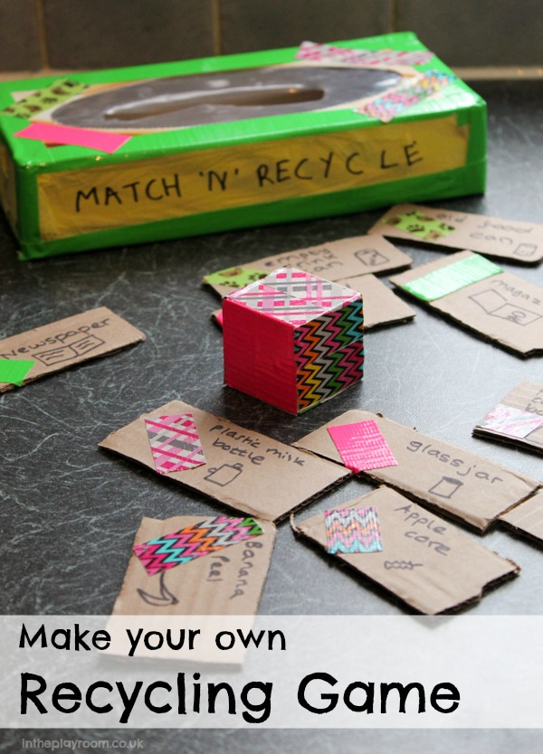 DIY cardboard recycling game Match n Recyle. A fun way to learn about recycling in time for Earth day