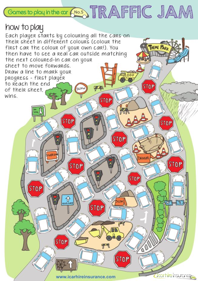 "Printable ""Traffic Jam"" Coloring Road Trip Game 