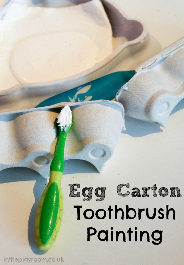 egg carton toothbrush painting. A fun way to help kids learn about the importance of brushing their teeth