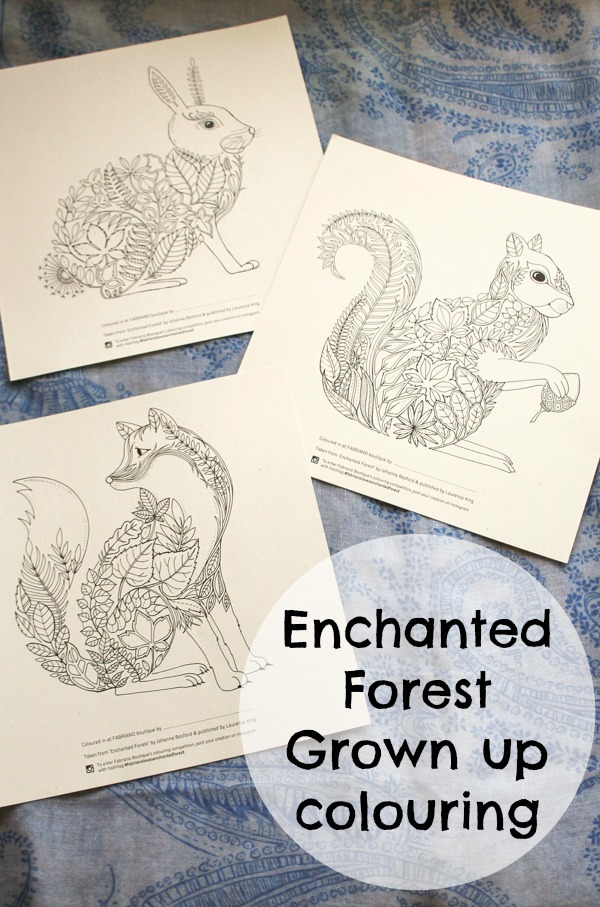 enchanted forest grown up colouring pages featuring animals : fox, squirrel and rabbit to colour