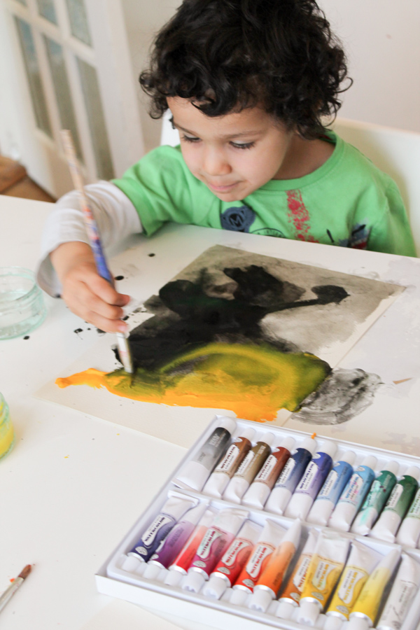 3 year old painting watercolours