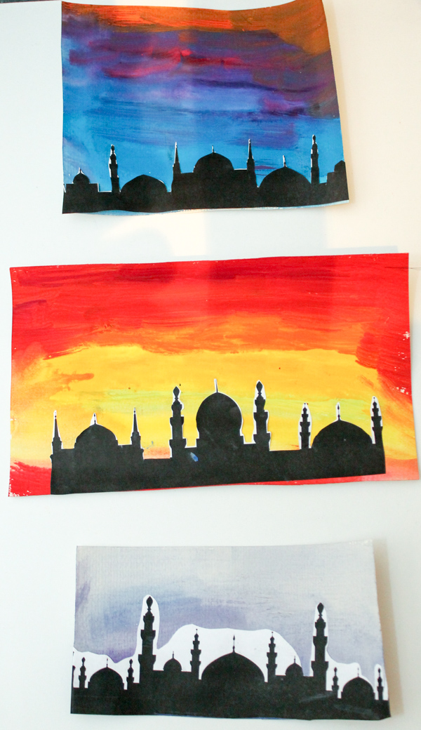 Watercolour mosque silhouette pictures in the playroom for Good craft 2 play store
