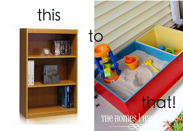 make a sandpit out of a book case