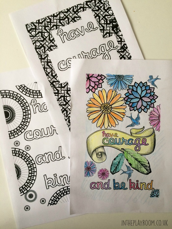 Have courage and be kind. Cinderella inspired grown up colouring pages, for adults to color. Great for stress relief and relaxing