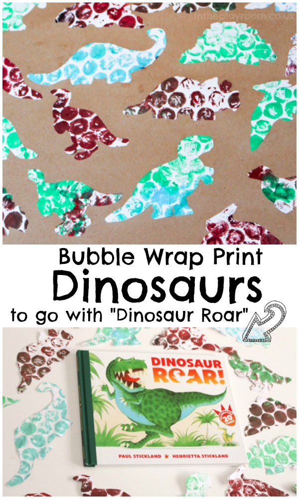 "Bubble wrap print dinosaurs to go with the book ""dinosaur roar"" by Paul Strickland. Fun book based craft for kids, works well for toddlers."